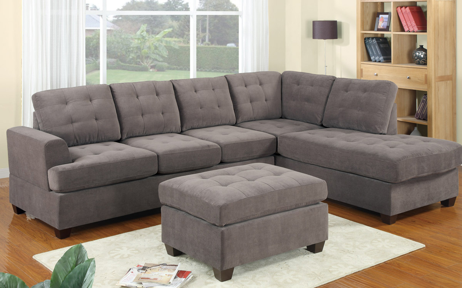 2 Piece Modern Reversible Grey Tufted Microfiber Sectional Sofa with