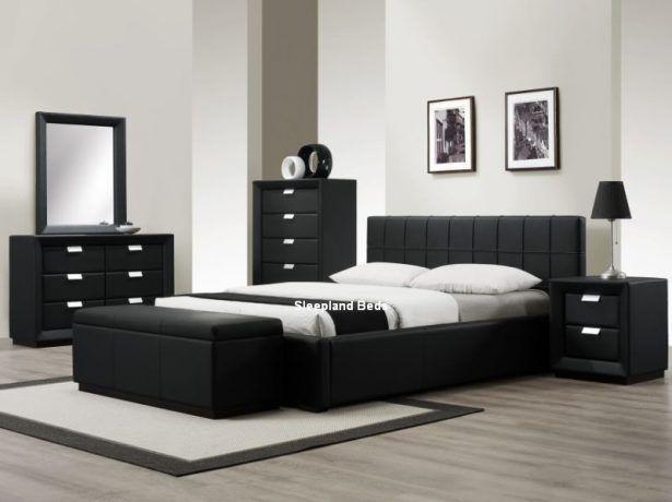 Bedroom:Contemporary Black Bedroom Furniture Sleepland Rossi Black