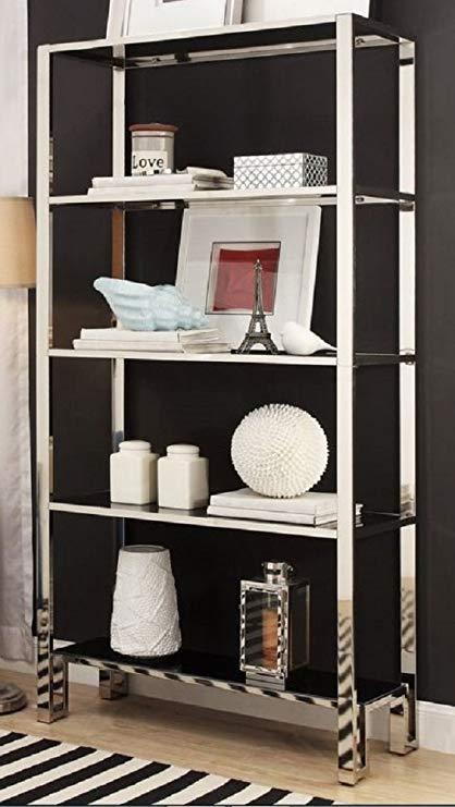 Amazon.com: Modern Bookcase Shelves Chrome Black Shelving Unique