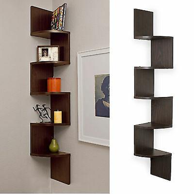 WALL MOUNT LARGE Corner Shelf Brown Rack 5 Shelves Zig Zag Furniture