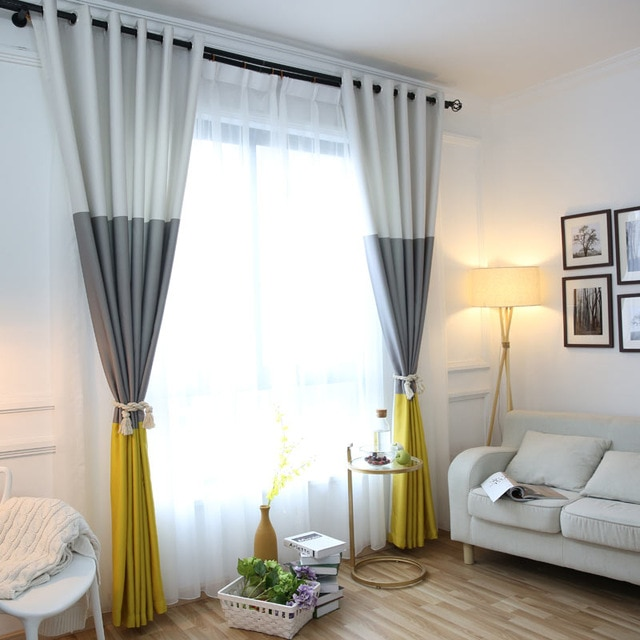 3 Colors Striped Blackout Curtains for the Bedroom Cotton Linen