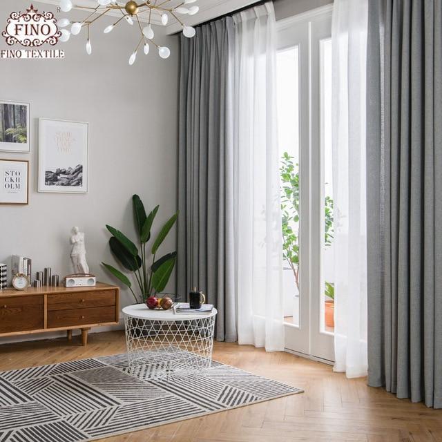 FINO Nordic Gray Solid Curtain Fabrics For Living Room Modern Window
