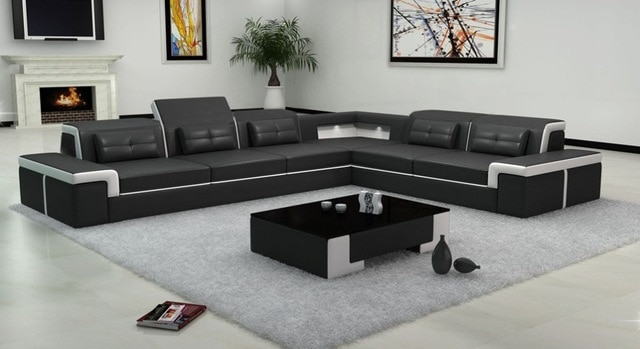 Latest design living room sofa big leather sofa 0413 B2021-in Living