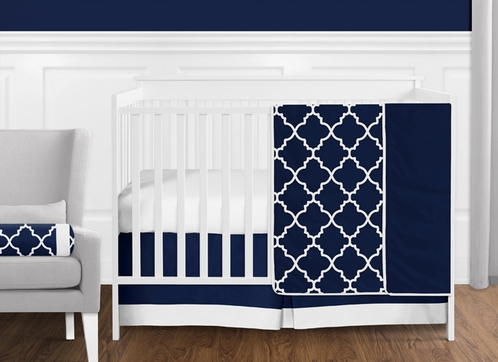 11 pc. Navy Blue and White Modern Trellis Lattice Baby Boy Crib
