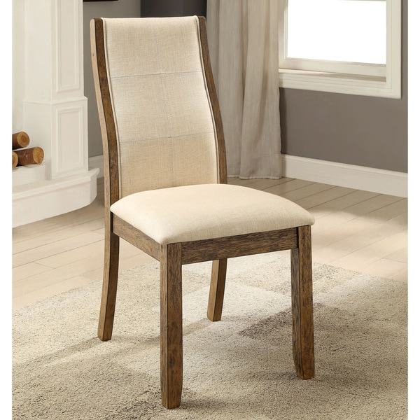 Shop Furniture of America Lenea Contemporary Padded Oak Dining Chair