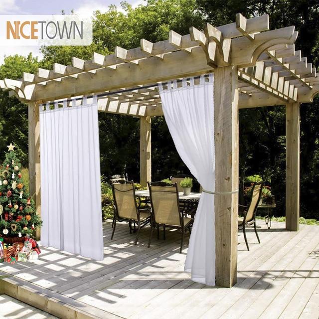 NICETOWN Summer White Indoor Outdoor Curtain Panels Elegant Tab Top
