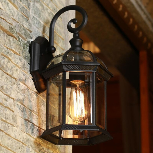 Europe led porch lights outdoor wall lamp black housing clear glass