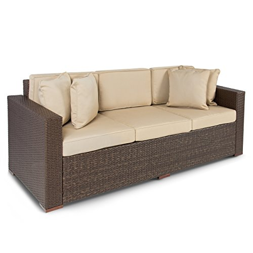 Best ChoiceProducts Outdoor Wicker Patio Furniture Sofa 3 Seater