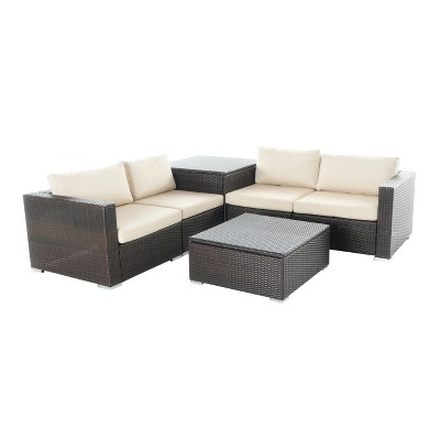 Santa Rosa 6pc All-Weather Wicker Patio Sectional Sofa Set With