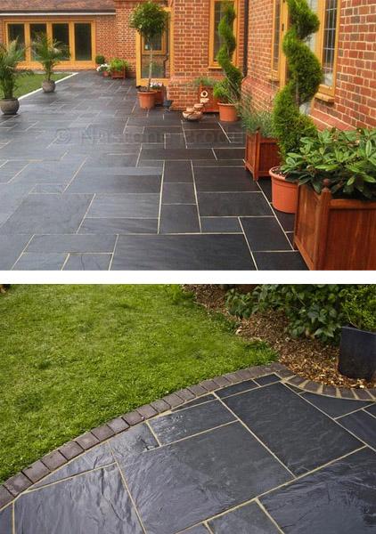 Nustone Black Slate Paving Slabs - Garden Patio Slabs - Natural