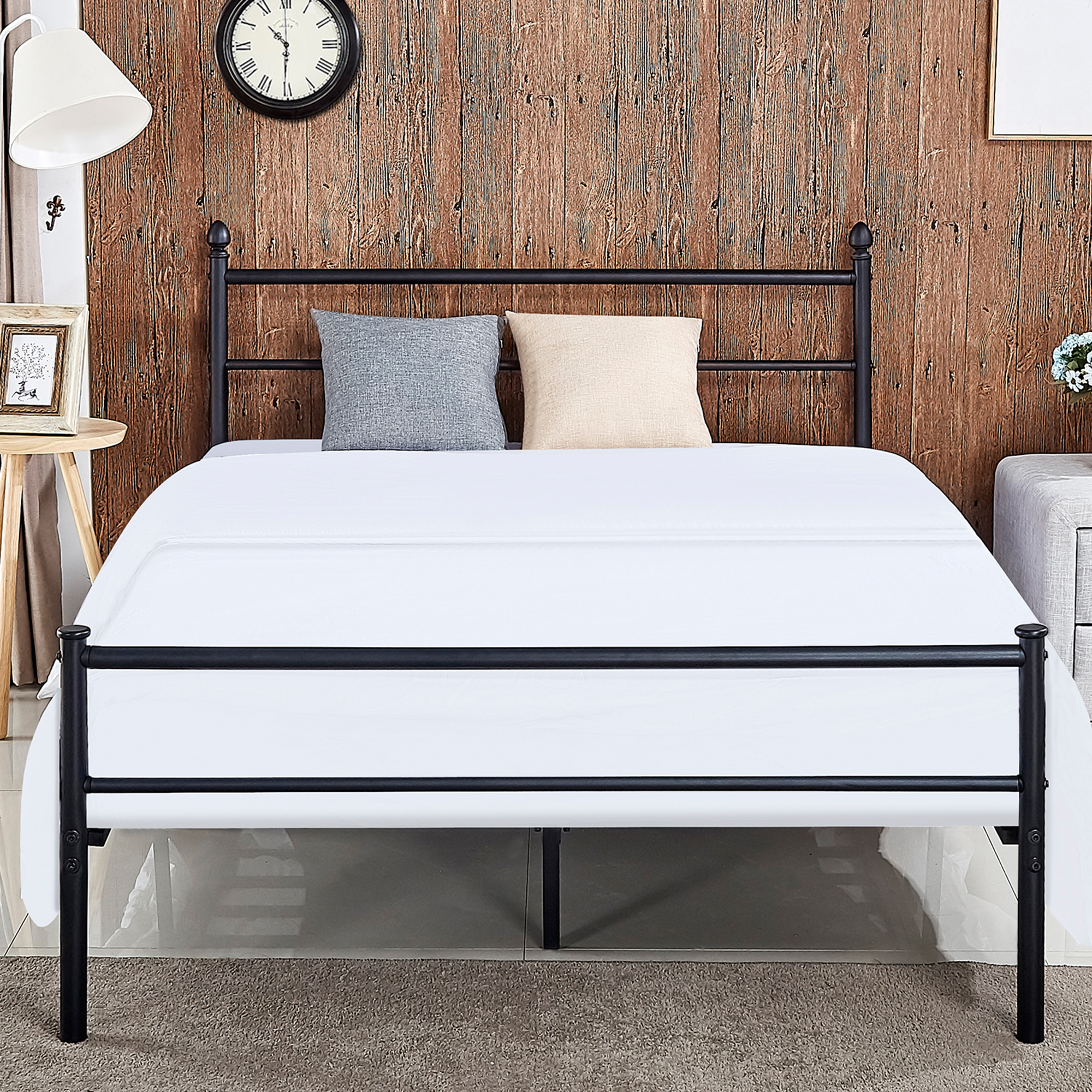 Metal Platform Queen Bed Frame /Bed, Box Spring Replacement with