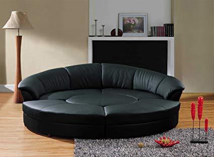 Amazon.com: Vig Furniture Modern Black Leather Circular Sectional