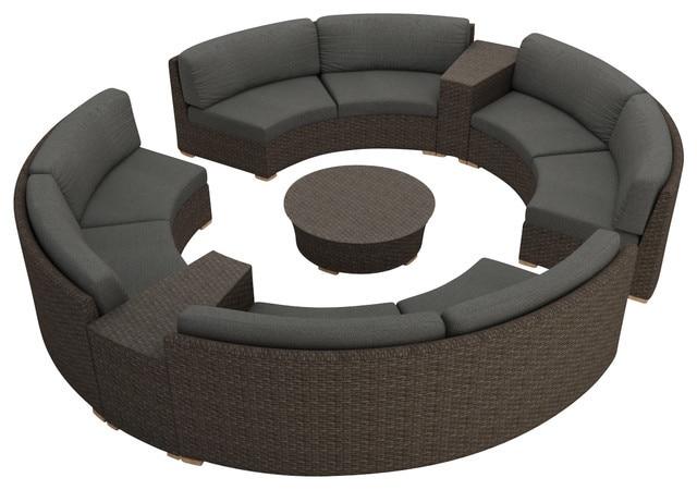 Rattan Furniture Outdoor 7 Piece Round Sectional Sofa Set-in Garden