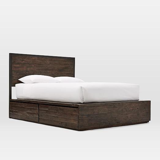 Logan Industrial Storage Bed - Smoked Brown   west elm