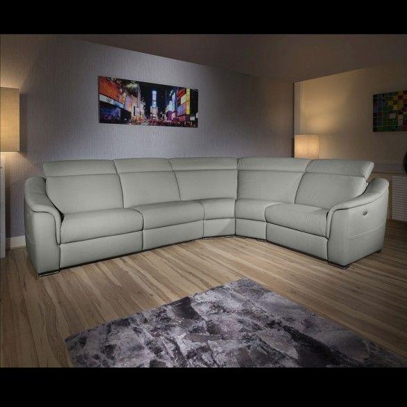 Luxury Grey Leather 5 Seat Corner L Shape Corner Sofa Recliners LH