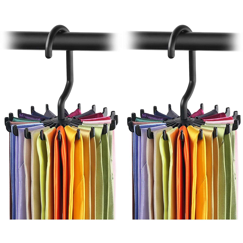 IPOW Upgraded Twirling Tie Rack Adjustable Belt Hanger Scarf Holder
