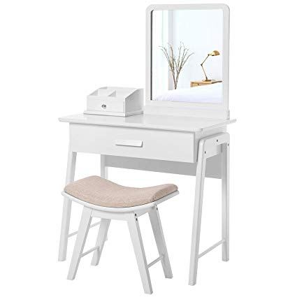 Amazon.com: SONGMICS Vanity Table Set with Square Mirror and Makeup