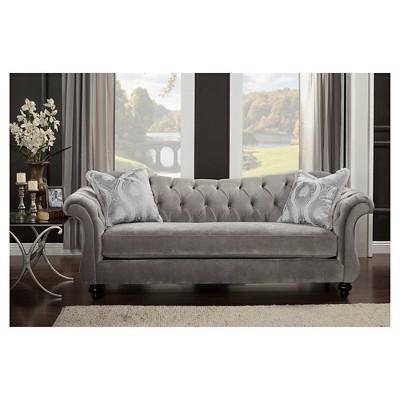 Alexandria Victorian Sofa Gray - Furniture Of America : Target
