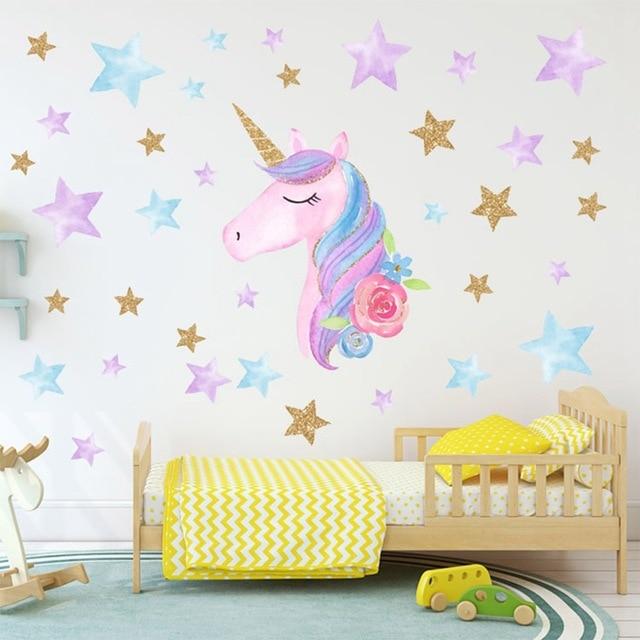 Cartoon Cute Unicorns Star Heart Wall Stickers Wallpaper DIY Vinyl