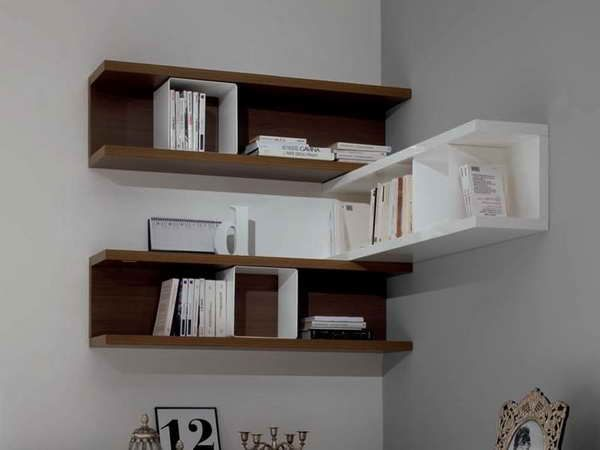 Wall Mount Corner Shelf With Books In Order | Room_Transform | Wall