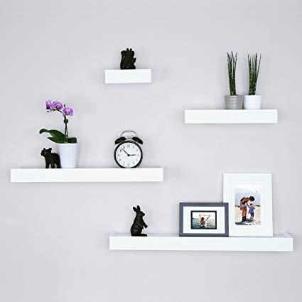 Amazon.com: Ballucci Modern Ledge Wall Shelves, Set of 4, White