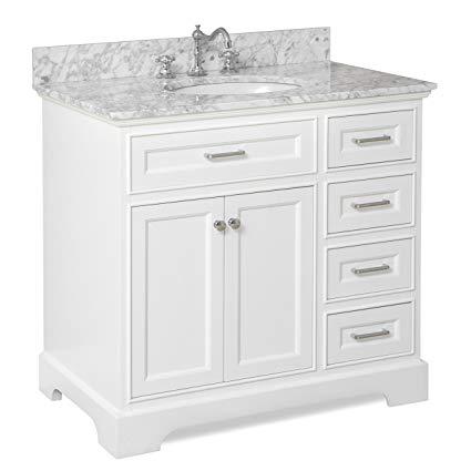 Aria 36-inch Bathroom Vanity (Carrara/White): Includes a White