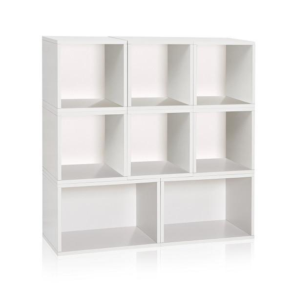 White Stackable Modular Cubby Organizer and Bookcase - Way Basics