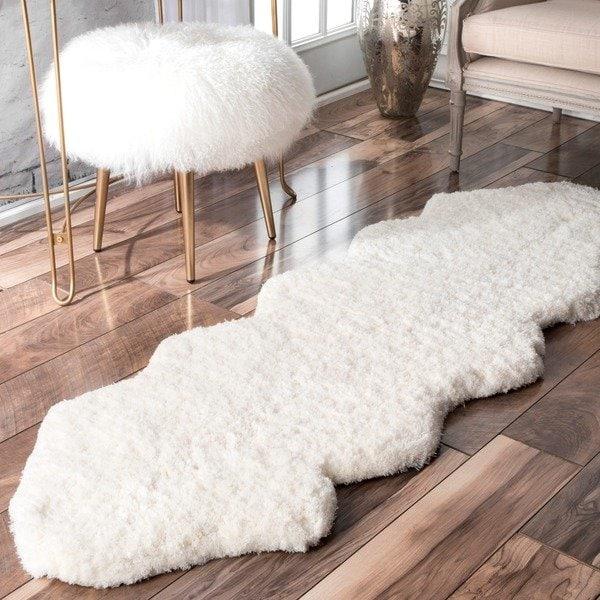 Shop nuLOOM Handmade Double Pelt White Faux Sheepskin Shag Rug - 2