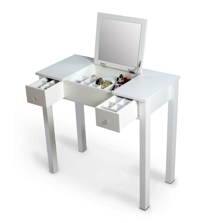 Organizedlife White Vanity Table Jewelry Storage Makeup Desk with