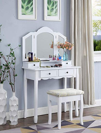 Amazon.com: Roundhill Furniture Sanlo White Wooden Vanity, Make Up