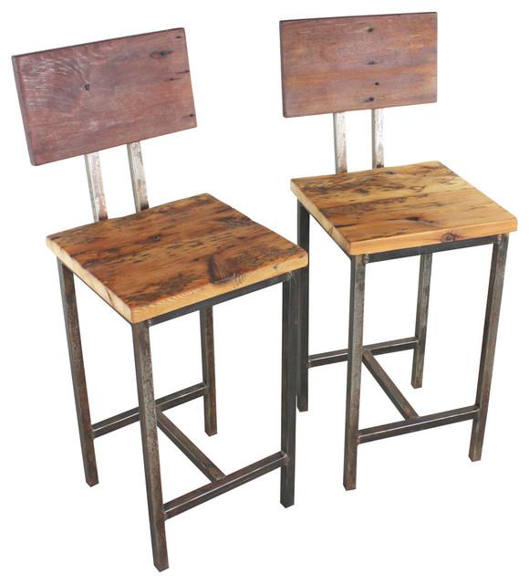 Reclaimed Wood Bar Stools, Set of 2 - Rustic - Bar Stools And