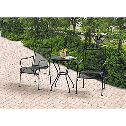 Amazon.com : Wrought Iron 3 Piece Chairs & Table Patio Furniture