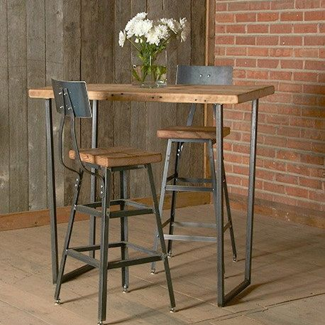"""Bar Height Harvest Barn Wood Stool with steel back (1) 25"""" counter height stool with back. Your choice of wood finish and stool height"""