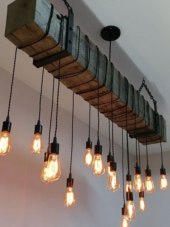 """Reclaimed Wood Beam Light Fixture Chandelier with hanging brackets and Wrapped LED Edison Bulbs 72"""" long beam - Modern Industrial Farmhouse"""