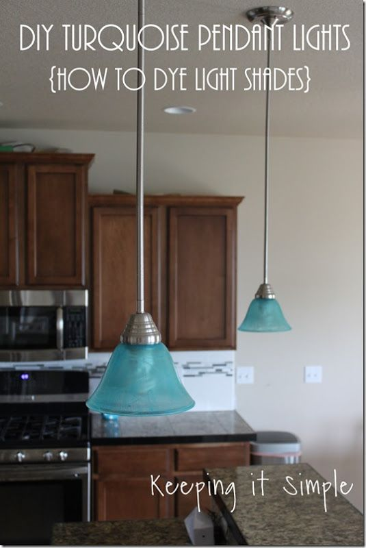 Turquoise Pendant Lights - How to Dye Light Shades