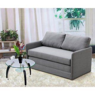 Porch & Den Amanda Reversible 5.1 inches Foam Fabric Loveseat and Sofa Bed