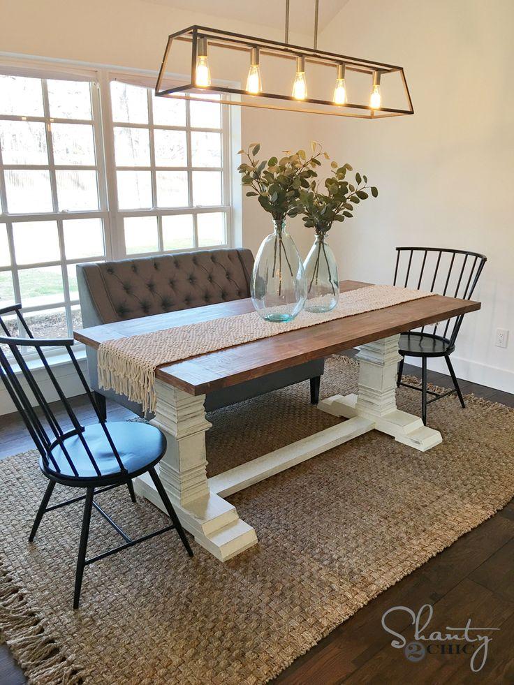 DIY Farmhouse Pedestal Table