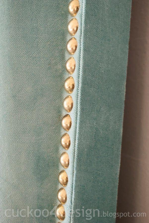 DIY Fabric Headboard with Nail Head Trim Application