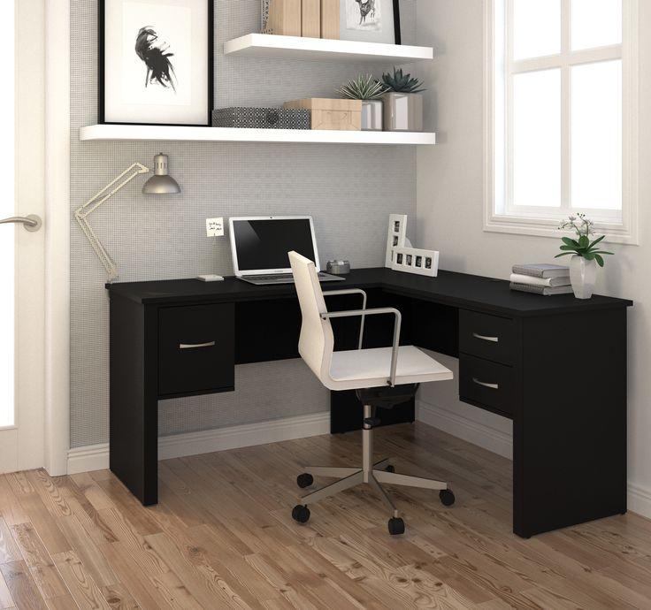 "Premium Modern 59"" X 53"" Corner Black Office Desk"