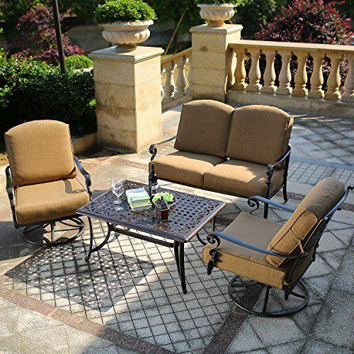 DOMI OUTDOOR LIVING Patio Furniture Dining Set 4 PCS Garden Outdoor Indoor Furniture Set with 2 Swivel Chairs, Conversation (Chat) Set, Antique Bronze Cast Aluminum