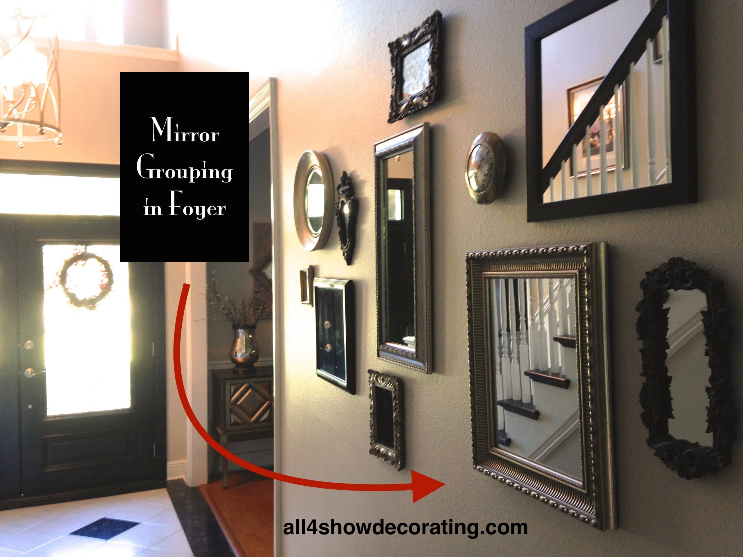 Framed mirrors in different rooms