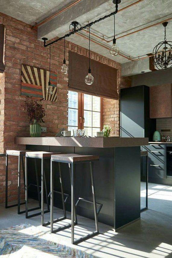 Industrial bar stool in a kitchen loft