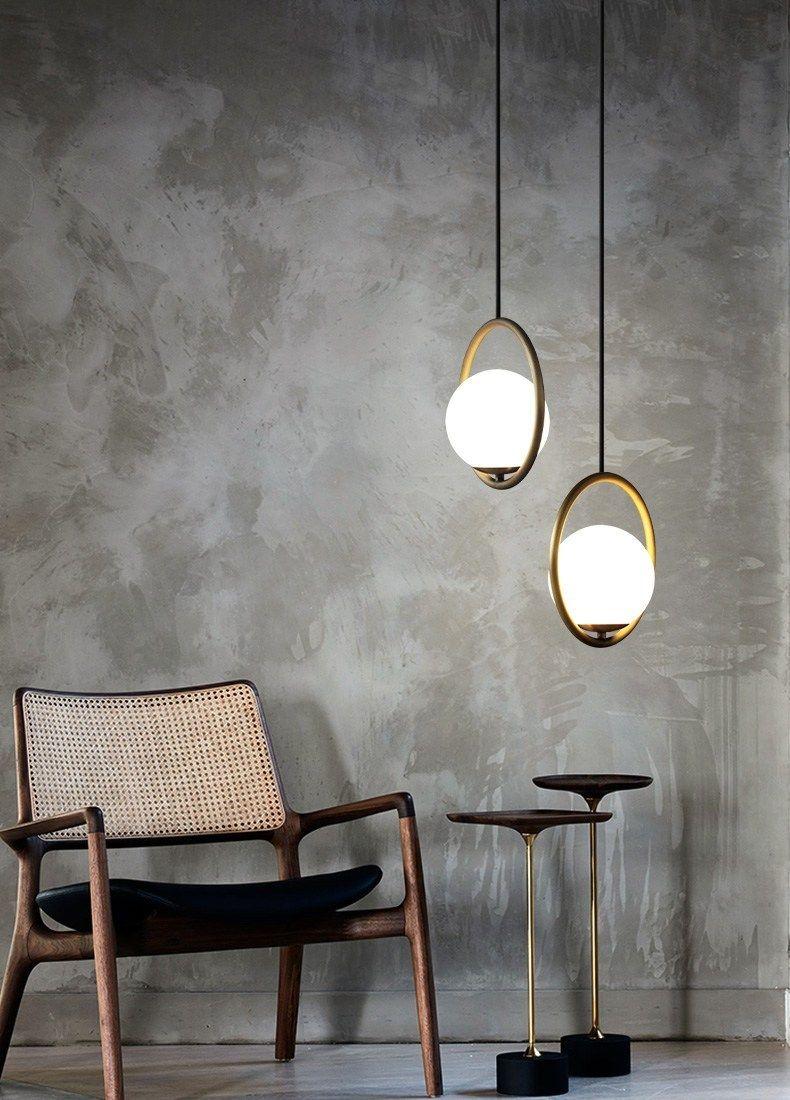 Modern pendant lighting fixtures in home interior