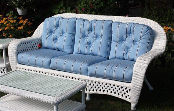 White Outdoor Wicker Sofa: Montauk Collection
